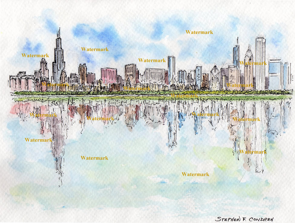 975x739 Chicago Skyline Watercolor Painting
