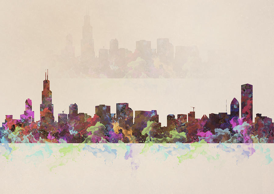 900x636 Chicago Skyline Watercolor Painting Painting By Georgeta Blanaru