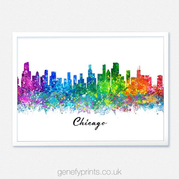 600x600 Chicago Skyline Watercolor Print