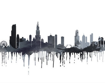 340x270 Chicago Skyline Watercolor
