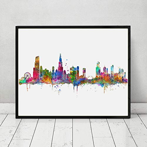 500x500 Chicago Skyline City Chicago Watercolor Art Print