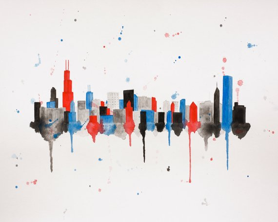 570x456 Chicago Watercolor Skyline Print Chicago Print Chicago Art Etsy