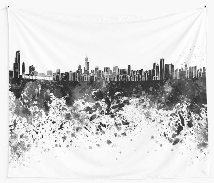 705x602 Chicago Skyline In Black Watercolor Wall Tapestries By Paulrommer