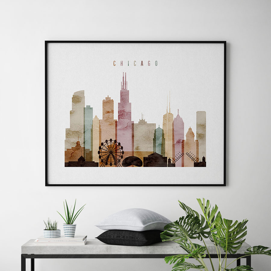 900x900 Chicago Skyline Print Watercolor 1 Landscape Artprintsvicky