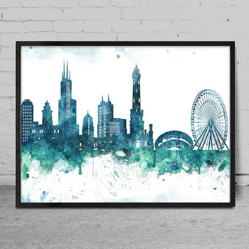 354x354 Shop Chicago Skyline Wall Art On Wanelo