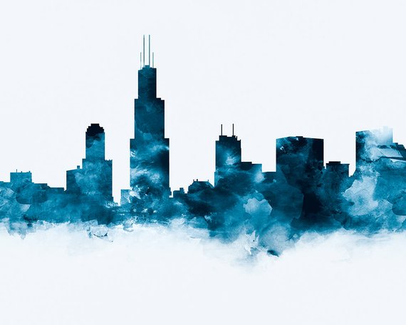 570x456 Chicago Print Chicago Skyline Watercolor Chicago Illinois Etsy