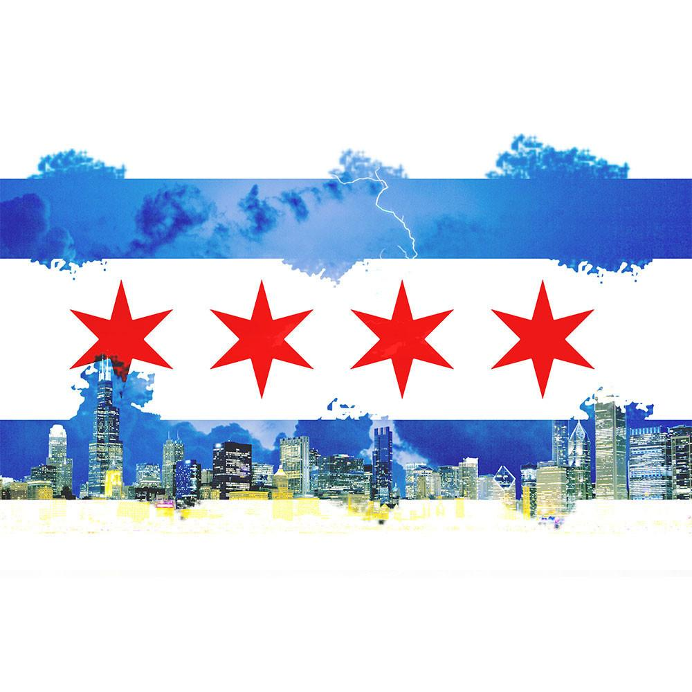 1000x1000 Watercolor Chicago Flag Skyline Wall Graphic