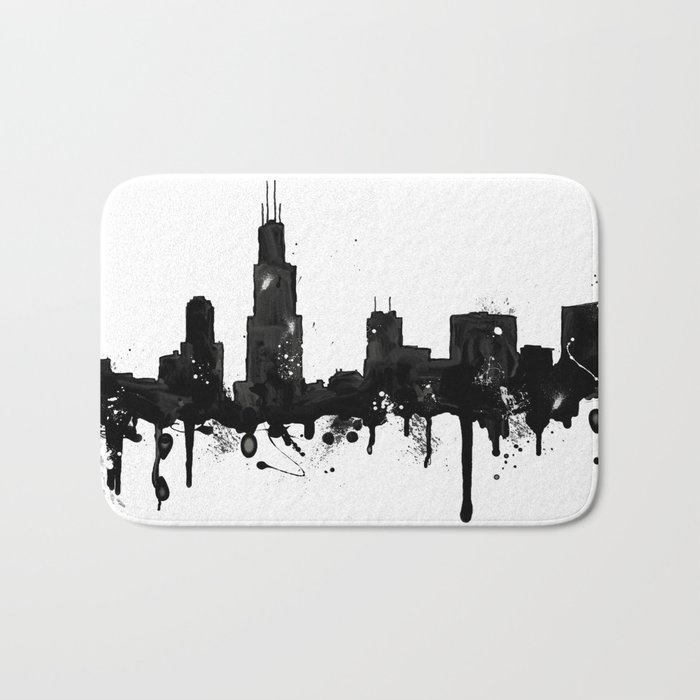 700x700 Watercolor Chicago Skyline Bath Mat By Trinitybennett Society6