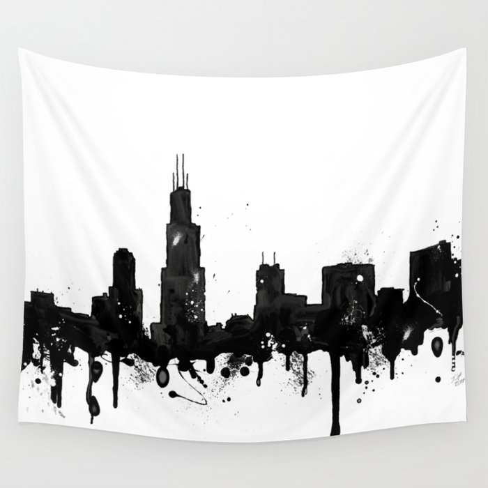 700x700 Watercolor Chicago Skyline Wall Tapestry By Trinitybennett Society6