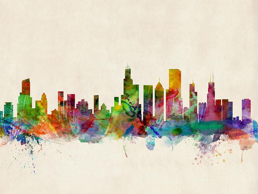 900x675 Watercolor Skyline Of Chicago Digital Art