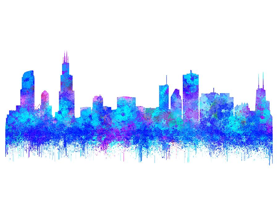 900x695 Watercolour Splashes And Dripping Effect Chicago Skyline Painting