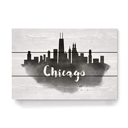 450x450 Artboxone Wooden Wall Art Chicago Skyline By Artist Travel