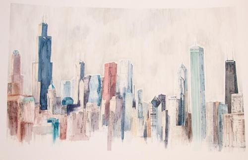 500x322 Chicago Skyline Watercolor