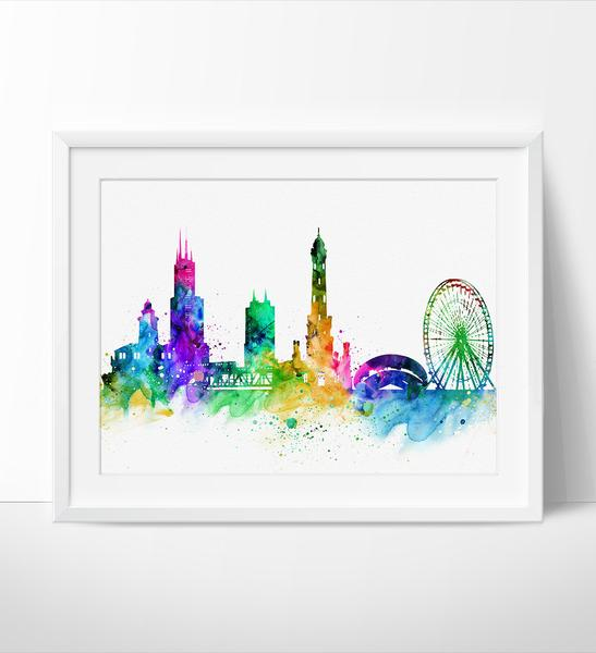 547x600 Chicago Skyline, Chicago Cityscape, Chicago Print, Watercolor Art