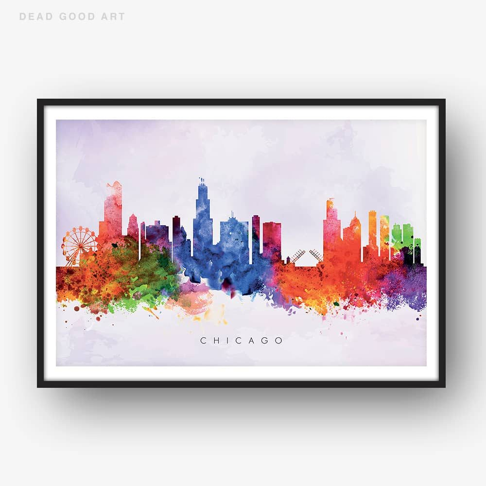 1000x1000 Chicago Skyline, Purple Wash Watercolor Print Dead Good Art