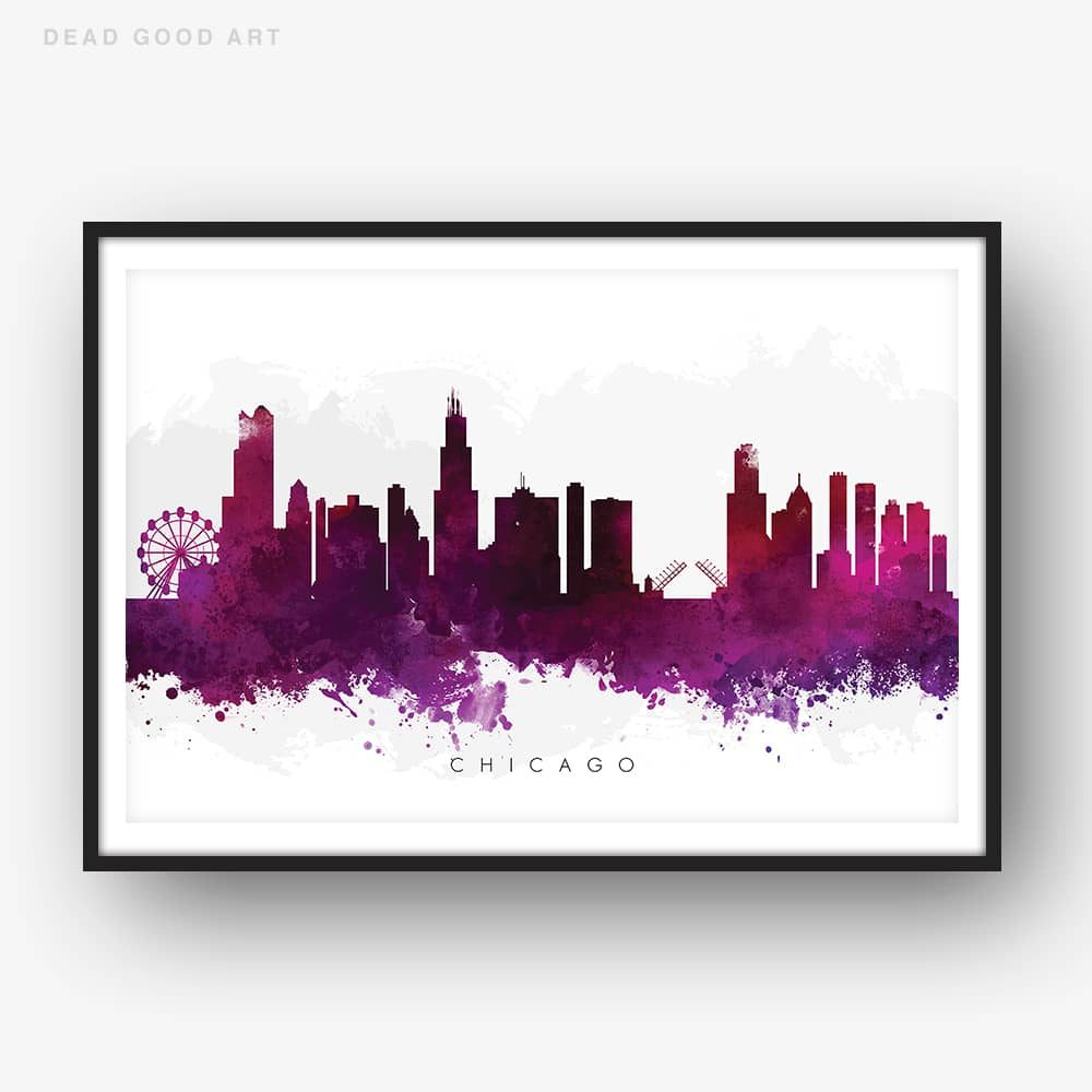 1000x1000 Chicago Skyline, Purple Watercolor Print Dead Good Art