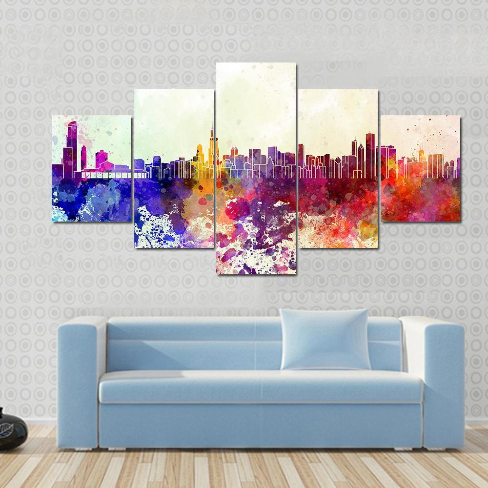 1000x1000 Chicago Skyline In Watercolor Multi Panel Canvas Wall Art