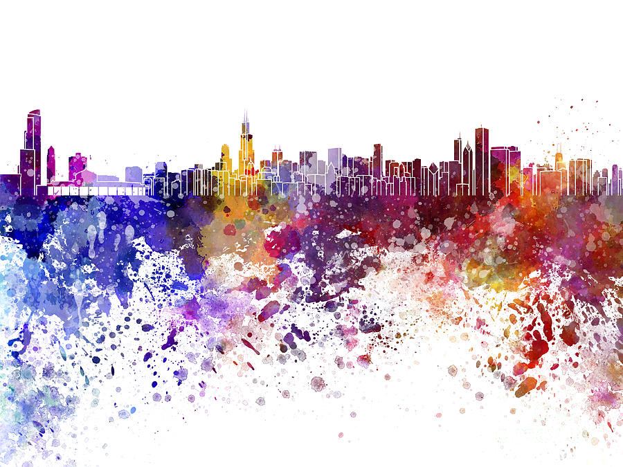 900x675 Chicago Skyline In Watercolor On White Background Painting By