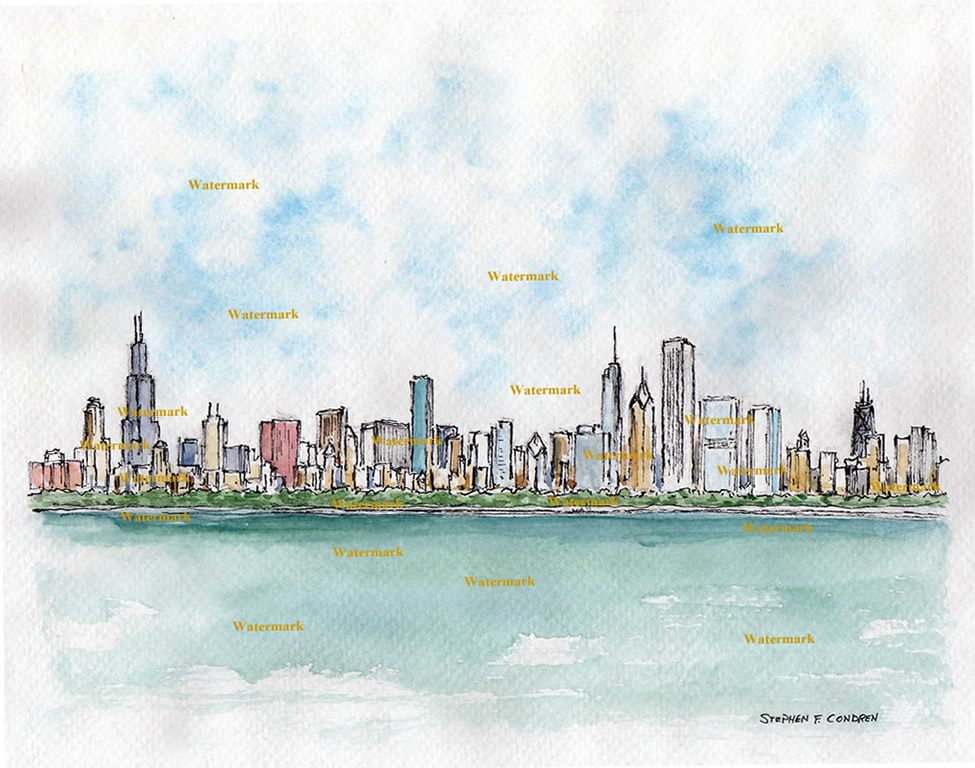 975x768 Chicago Skyline Watercolor