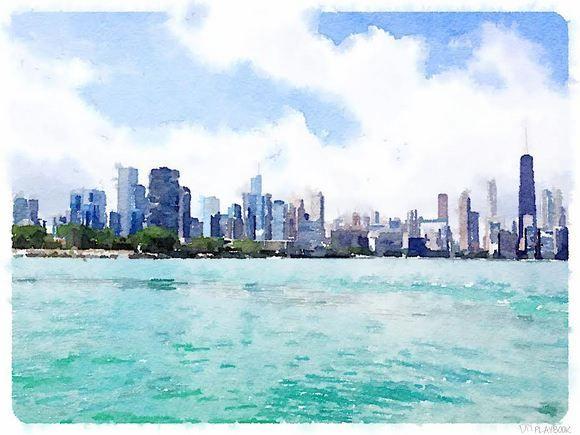 580x435 Chicago Skyline Watercolor