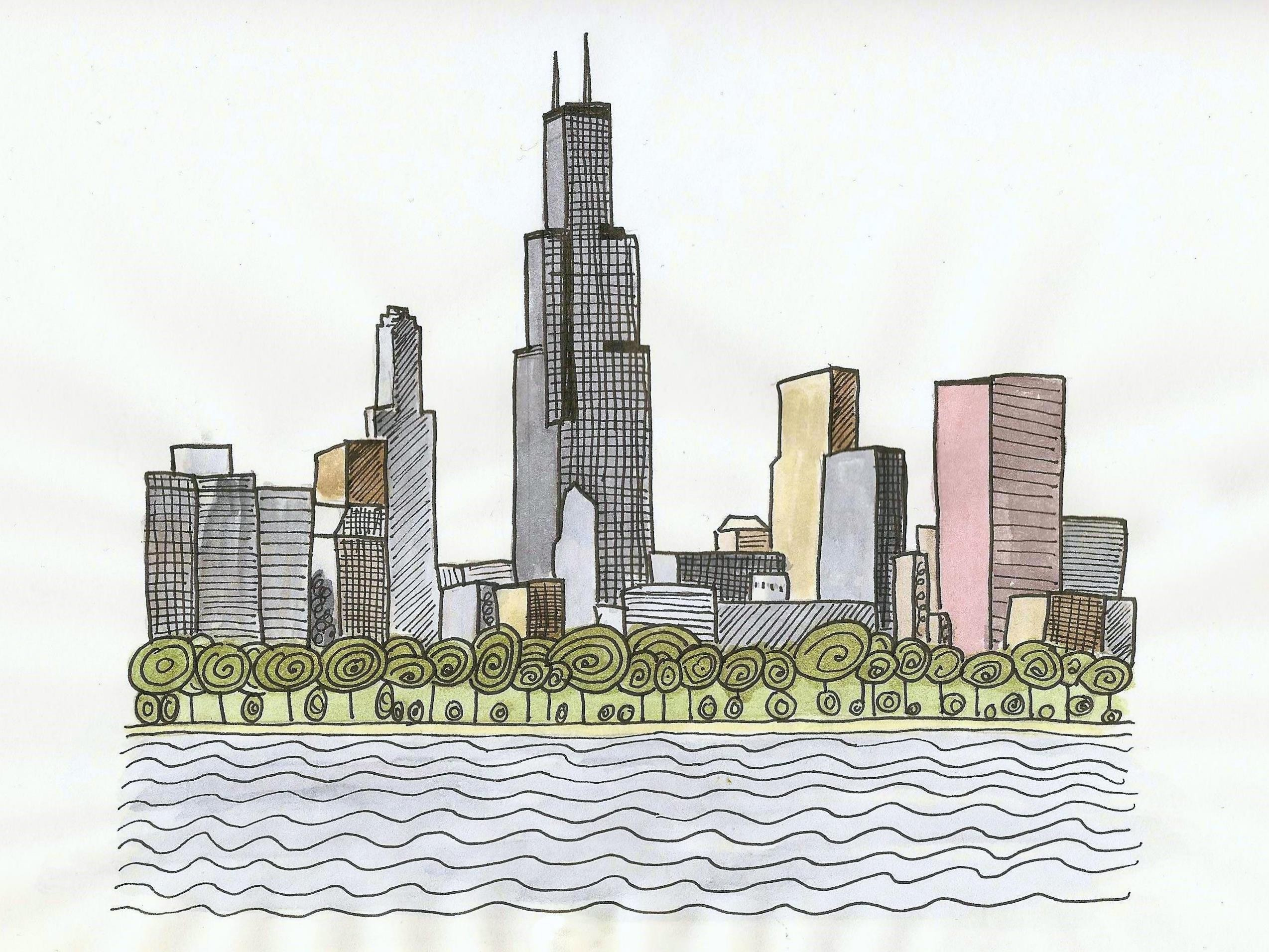 2548x1912 Chicago Skyline Watercolor Drawing 4