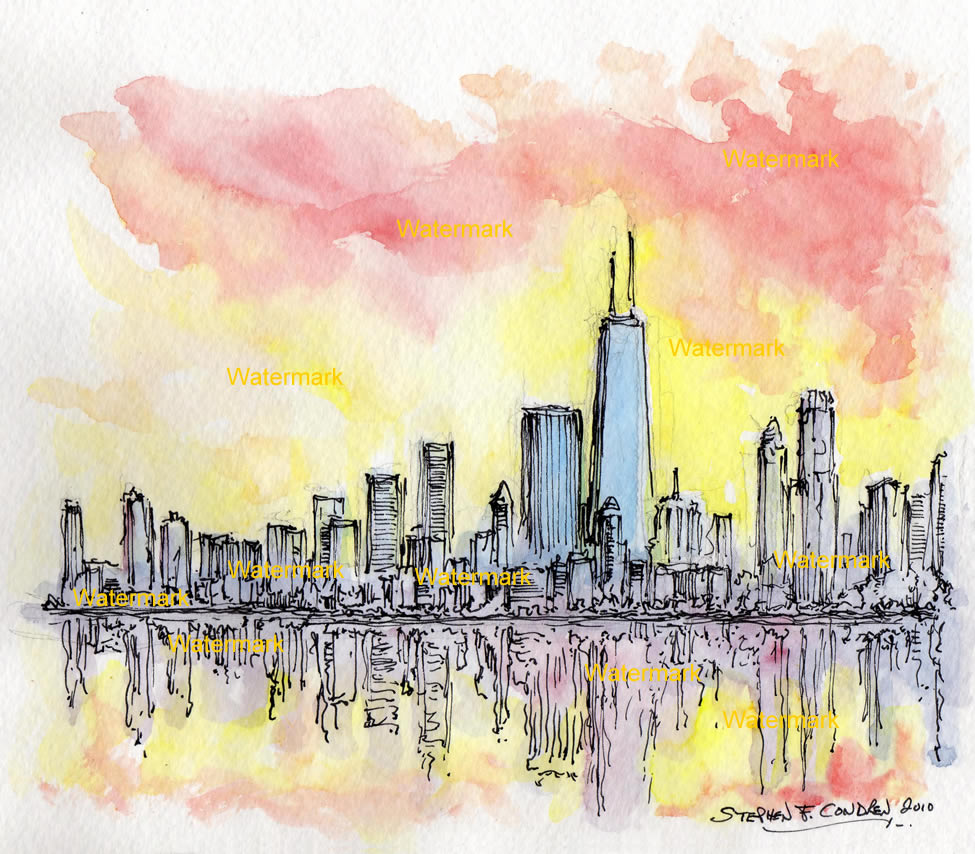 975x854 Chicago Skyline Watercolor Sunset Painting