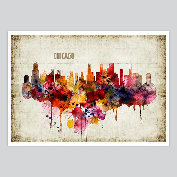 700x700 Chicago Watercolor Print