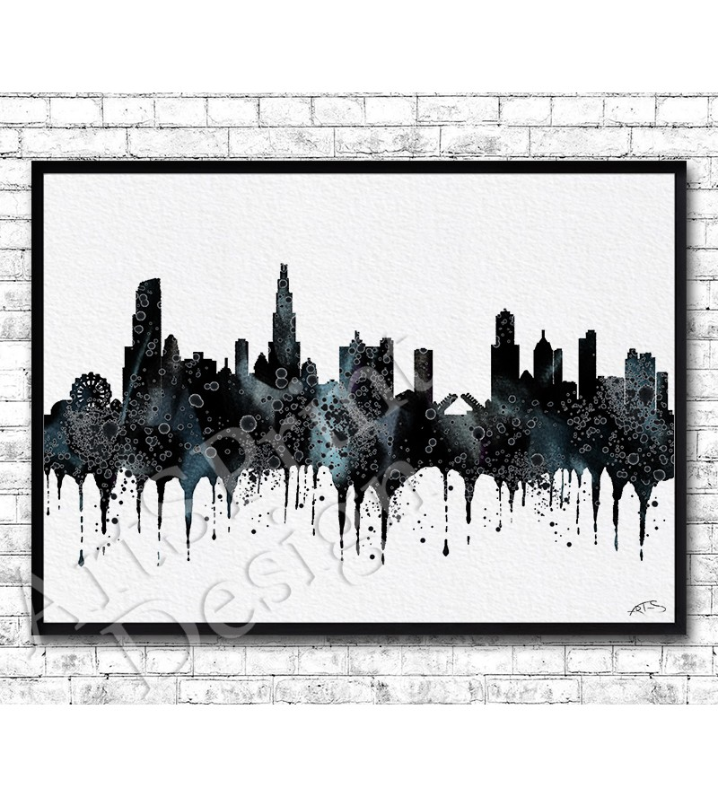 800x888 Chicago Watercolor Print Black