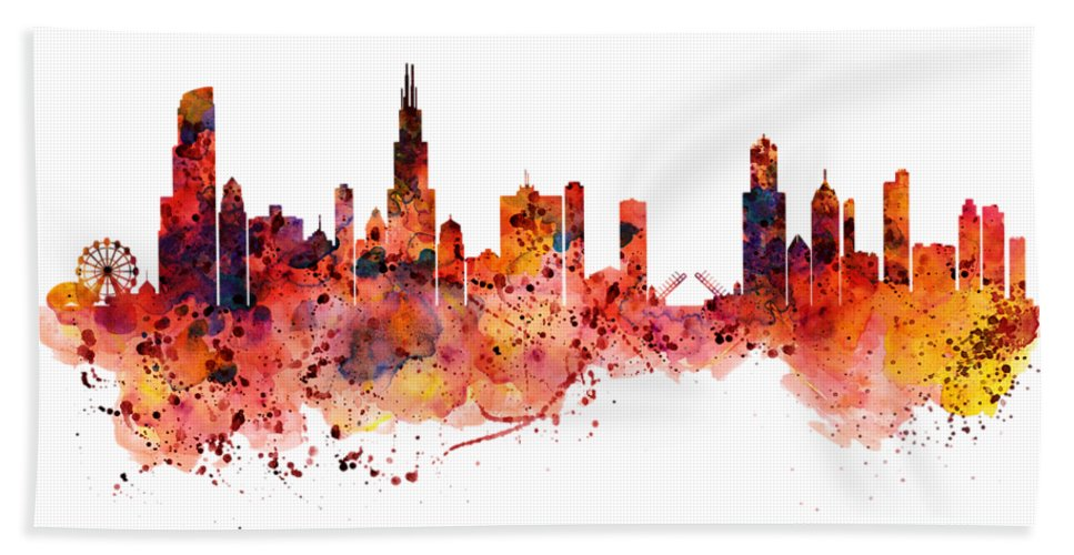 967x500 Chicago Watercolor Skyline Beach Sheet For Sale By Marian Voicu