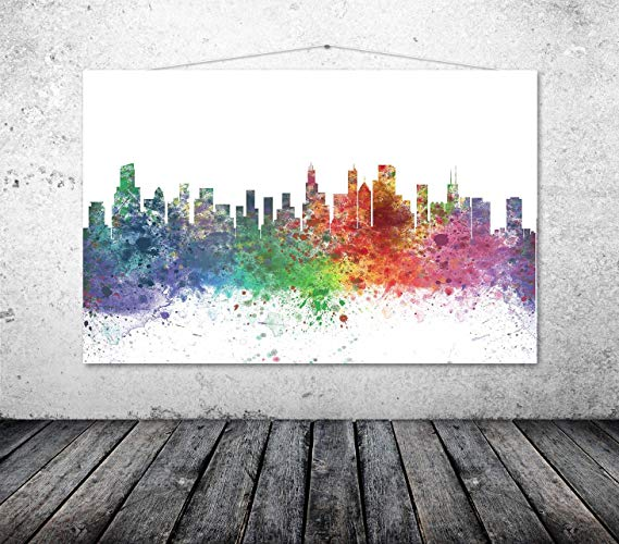 569x500 Chicago Art Print, Chicago Poster, Chicago Watercolor