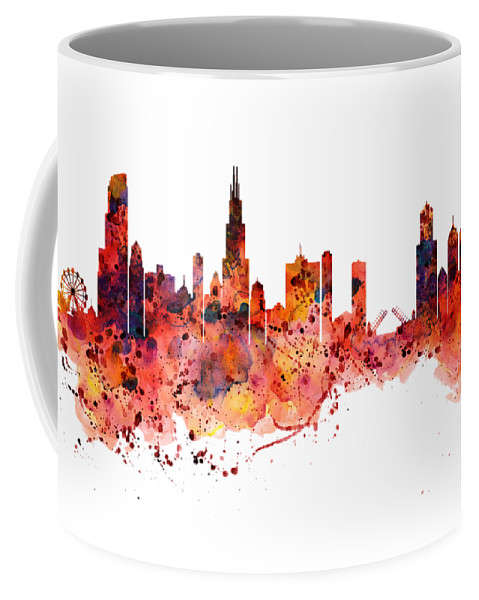 479x600 Chicago Watercolor Skyline Coffee Mug For Sale By Marian Voicu