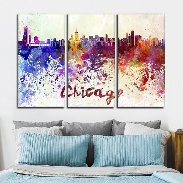 600x600 Chicago Watercolor Skyline Multi Panel Canvas Wall Art Elephantstock