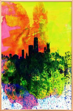 257x386 Chicago Watercolor Skyline As Poster In Aluminium Frame Juniqe