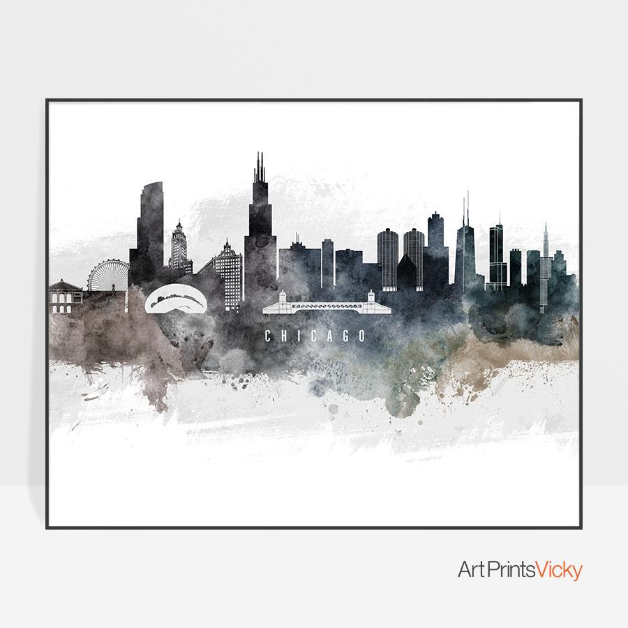 900x900 Chicago Art Poster Watercolor Artprintsvicky