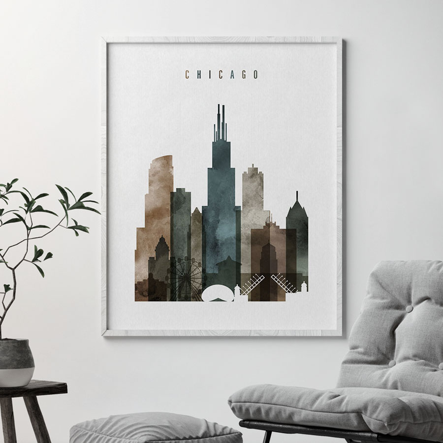 900x900 Chicago Poster Watercolor 2 Artprintsvicky