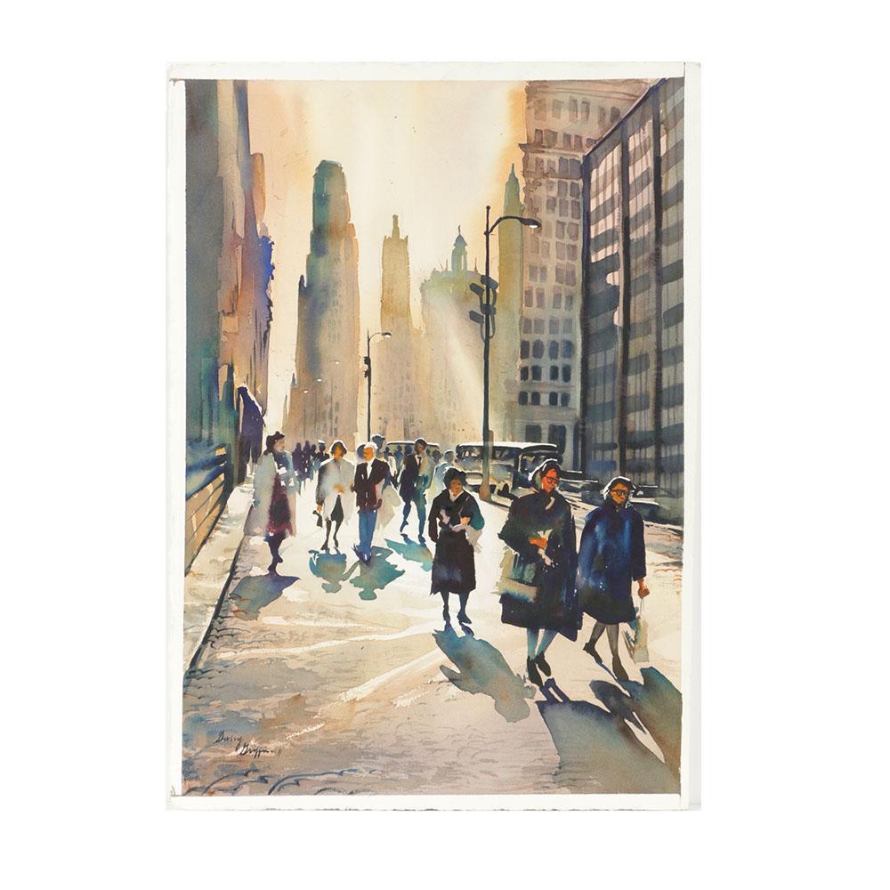 1000x1000 Garry Griffin Ii Watercolor On Paper Of Chicago Street Scene Ebth