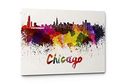 425x283 Watercolor City Splash Skyline Wall Art Canvas Print