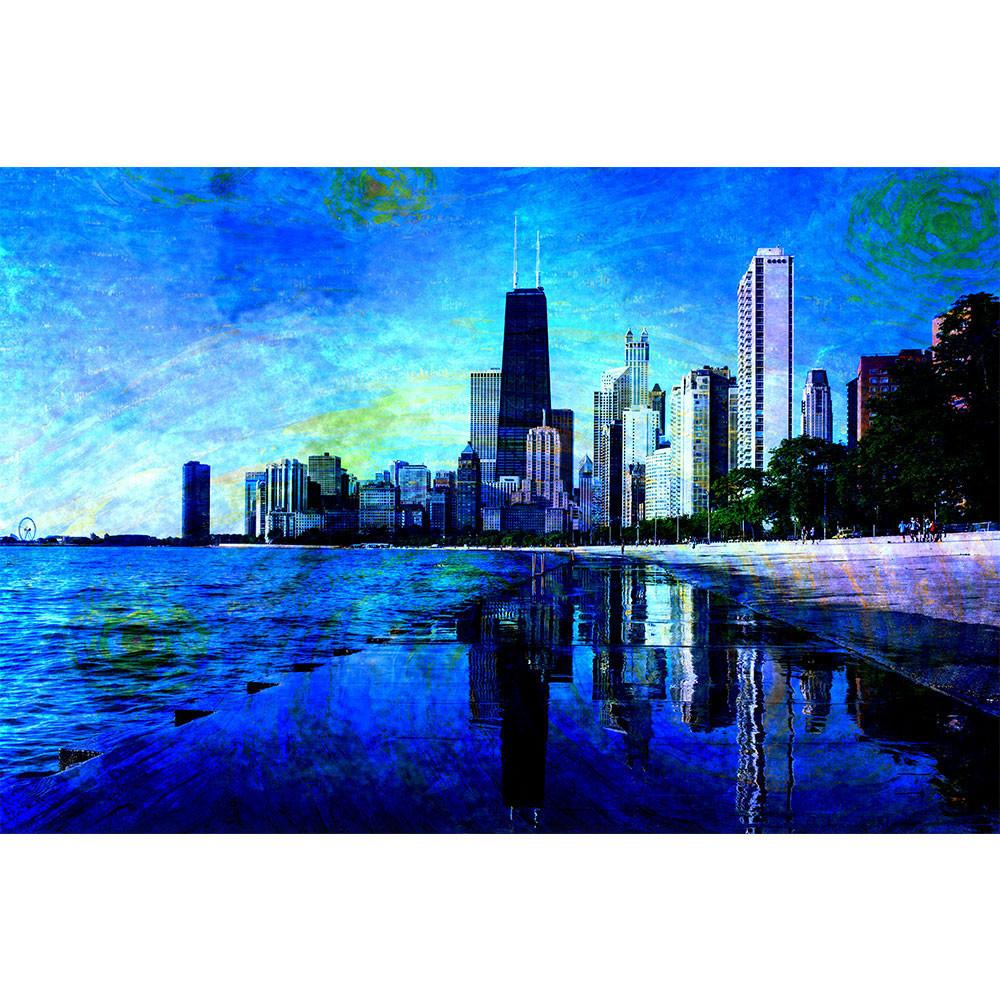 1000x1000 Starry Chicago Abstract Watercolor Wall Graphic