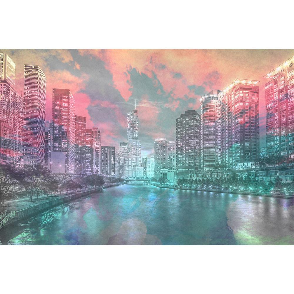 1000x1000 Watercolor Chicago River View Wall Graphic