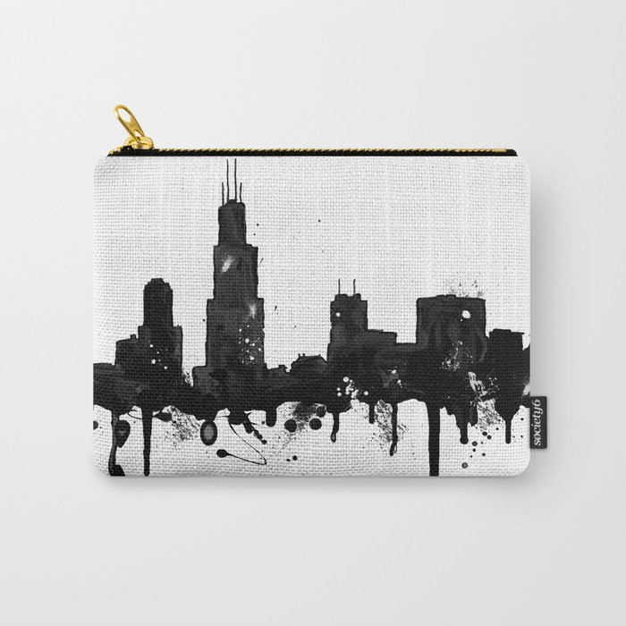 700x700 Watercolor Chicago Skyline Carry All Pouch By Trinitybennett