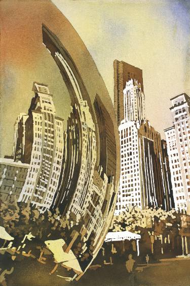 375x564 Watercolor Painting Of Cloud Gate (Chicago Bean) Statue And