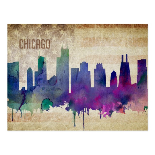 540x540 Chicago, Il Watercolor City Skyline Postcard