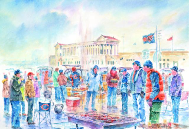 640x438 Chicago Bears Amp Soldier Field Tailgating Watercolor Print