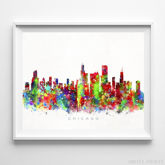 699x699 Chicago Illinois Skyline Watercolor Print