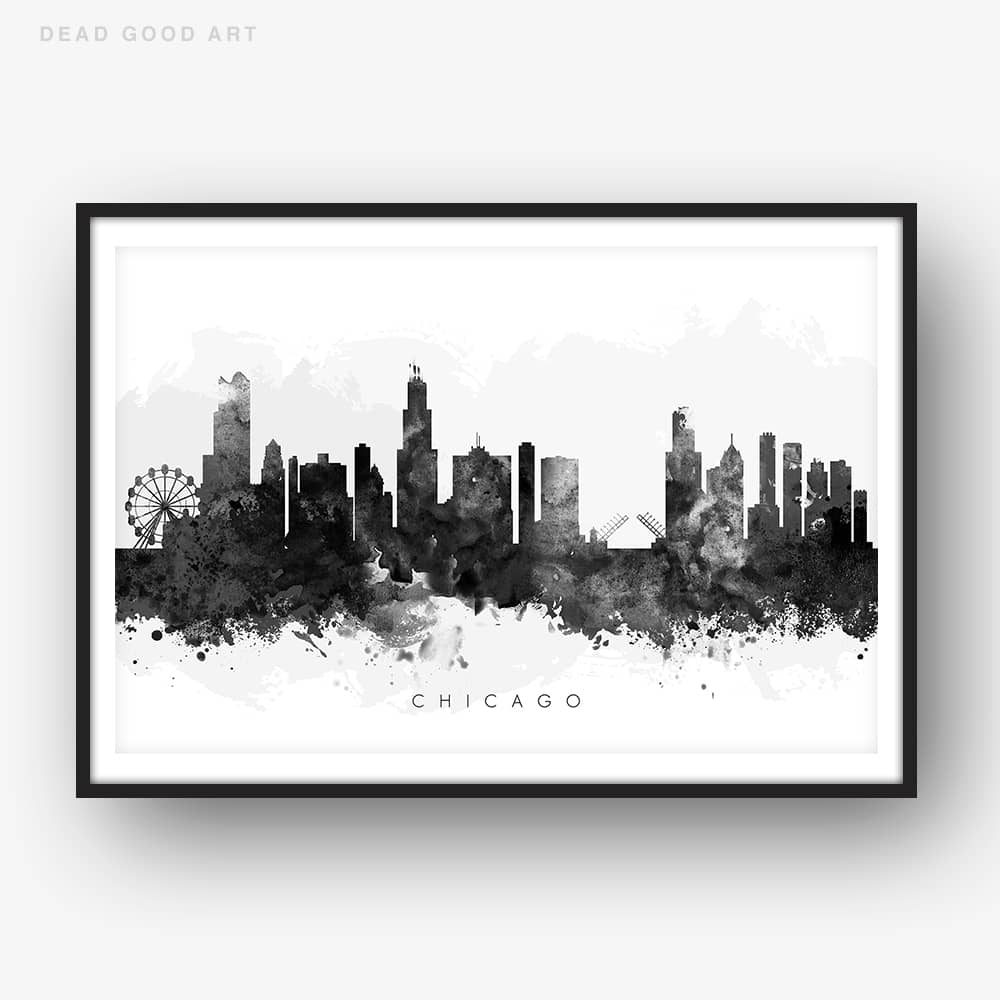 1000x1000 Chicago Skyline, Black Amp White Watercolor Print Dead Good Art
