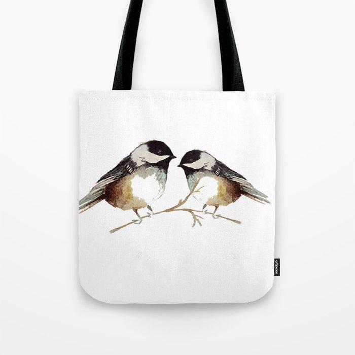 9eede0f1fc 700x700 Winter Chickadees Watercolor Tote Bag By Craftberrybush Society6