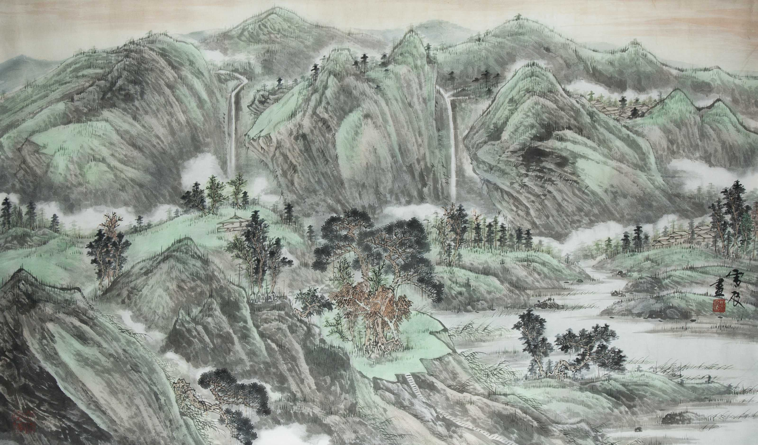3199x1878 20th Century Chinese Watercolor