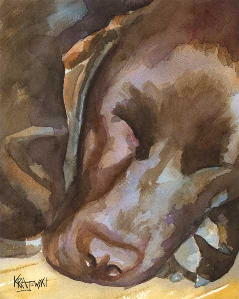 480x600 Chocolate Lab Memorial, Painting, Portrait, Labrador Retriever Art