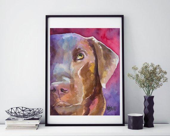 570x456 Chocolate Lab Watercolor Labrador Retriever Art Print Of Etsy