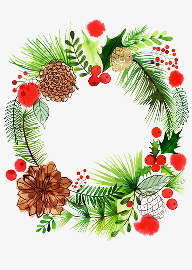 Christmas Wreath Images Free.Christmas Garland Watercolor At Getdrawings Com Free For